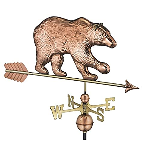 Good Directions 695PA Bear Weathervane with Arrow, Polished Copper