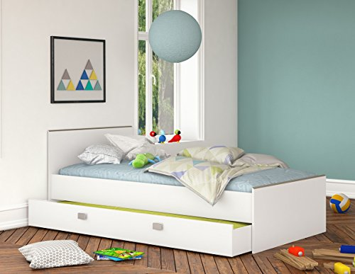 Bettkasten 90*200 Weiß Kinderbett Jugendliege Bettliege Bett Bettgestell  Holz Gästebett Studenten Jugendzimmer Kinderzimmer