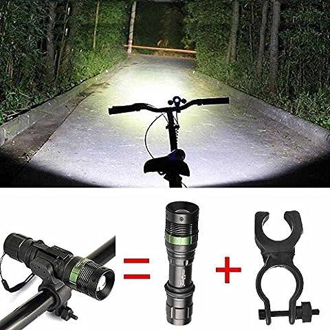 Taschenlampe Wasserdichte Taschenlampe 6000 LM zoombare CREE XM-L Q5 LED-Taschenlampe mit Zoom Lampe Licht RF, Taschenlampe + Mount Halterung