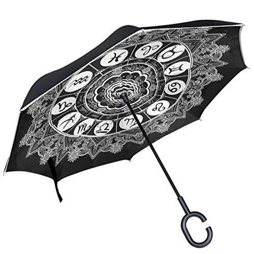Alaza costellazione zodiacale con occhi invertito ombrello doppio strato antivento reverse ombrello