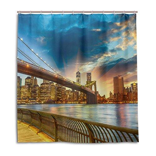 jstel Decor Dusche Vorhang New York City Sunset Muster Print 100% Polyester Stoff 167,6x 182,9cm für Home Badezimmer Deko Dusche Bad Vorhänge mit Kunststoff Haken