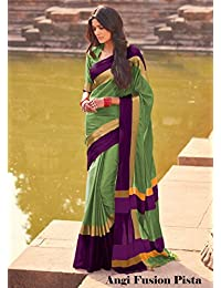 Maruti Textile Surat Women's Cotton Silk Saree (Green & Pink)