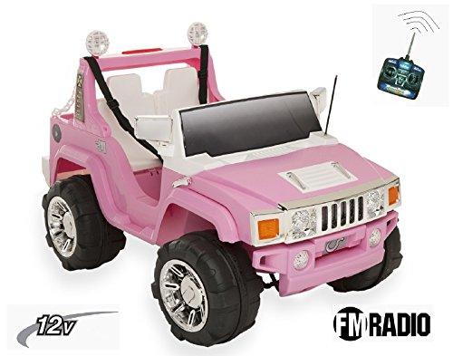 Hummer - Coche eléctrico infantil 4x4 de 2plazas, con control parental, 2motores, 12V–10Ah, color rosa