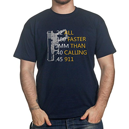 Hand gun Bullets Faster Than Calling 911 Self Defense 2nd Amendment T-shirt