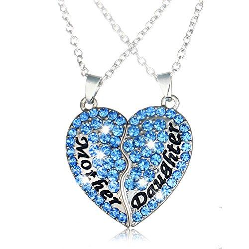 Argento Mother Daughter collane placcato Pendente del cuore dello zaffiro cristallo Swarovski Elements 2 pezzi - Moissanite Diamante Zaffiro