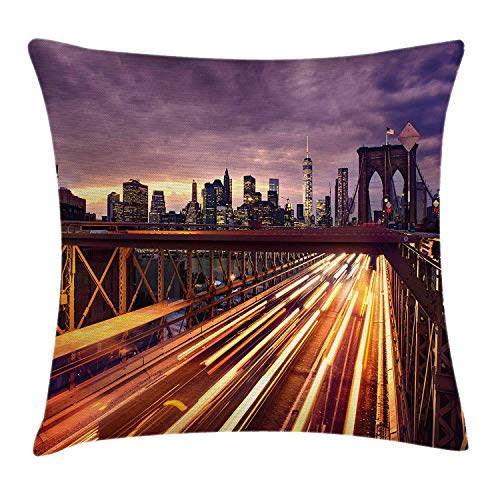 (MLNHY City Throw Pillow Cushion Cover, Brooklyn Bridge at Night Car Traffic in New York United States Transport, Decorative Square Accent Pillow Case, 18 X 18 inches, Lilac Dark Orange Yellow)