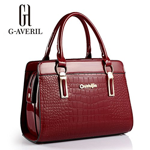 (G-AVERIL) PU in pelle Donna Borsa Handbag borsa a Spalla Borse a mano Tote Bag Shoulder Bag con Mutil tasche rosso