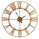 TU TENDENCIA UNICA Ihre einzigartige Wanduhr, Durchmesser 60 cm, mit römischen Zahlen. Metallstruktur mit goldfarbener Epoxidlackierung.