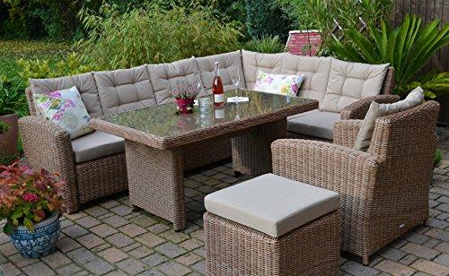 Bomey Rattan Lounge Set I Gartenmöbel Set Manhattan 4-Teilig I Gartensofa Braun + Tisch + Sessel +...
