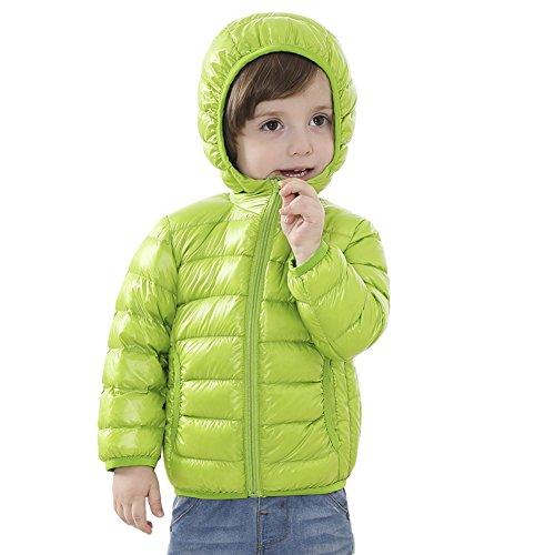 [Kinder Urtraleicht Steppjacke mit Kapuze] Kinder Daunenjacke Leicht Übergangsjacke Herbst Winter Jacket Wintermantel Mantel Parka Outerwear Grün100
