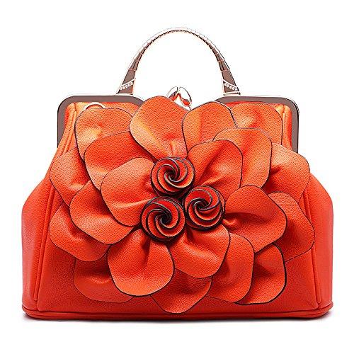 Syknb Rose Blume Taschen Freizeit Alle Mit Tragbaren Schulter Ranzen Orange