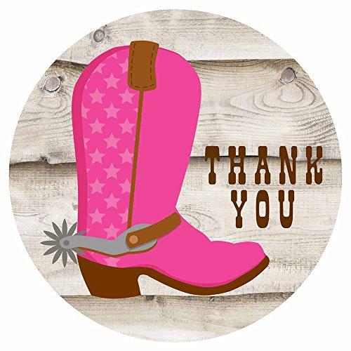 Adorebynat Party Decorations - EU Cowgirl-Stiefel danken Ihnen Aufkleber Aufkleber - Geburtstags-Babyparty-Partei-Bevorzugungen Umschlag Aufkleber - Set 50 (Cowgirl Mädchen Stiefel Rosa)