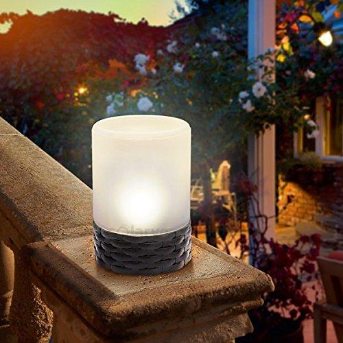 Esotec Lampe de Table Solaire Lampe Style Aspect rotin Lampe Solaire décorative en rotin 102075