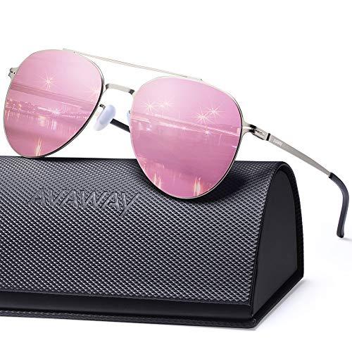 AVAWAY Ultraleicht Verspiegelte Sonnenbrille für Herren und Damen, Nylon Gläser mit UV400 Schutz Sonnenbrille (Rosa Pilotenbrille)