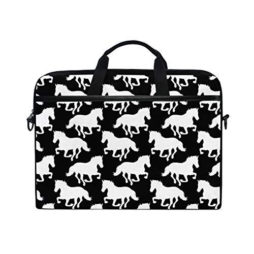 Ahomy 14 Zoll Laptop Tasche schwarz und weiß Pferde Canvas Stoff Laptop Tasche Bussiness Handtasche mit Schultergurt für Damen und Herren