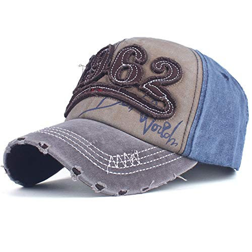 QYYDBQM Cotton Washed Baseball Cap Retro Fitted Cap Hat for Men Bone Women Casual Embroidery Letter Cap 57TO60CM Brown