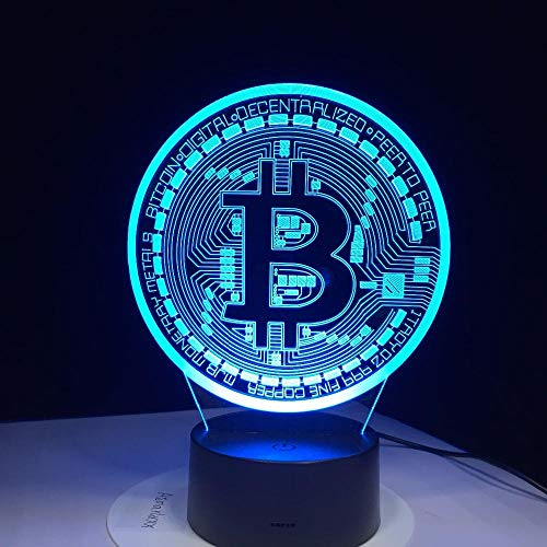 VOTOVCOM 3D Led Lampe Bitcoin Zeichen Modellierung Nachtlichter 7 Bunte USB Münze Schreibtischlampe Baby Schlafzimmer Schlaf Leuchte Decor Geschenke -