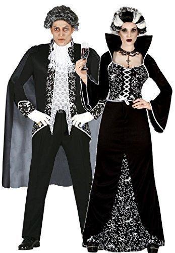 Damen UND Herren Paar Schwarz/Weiß Königsblau Vampir Halloween Kostüm Verkleidung Outfit (Königliche Paar Halloween Kostüme)