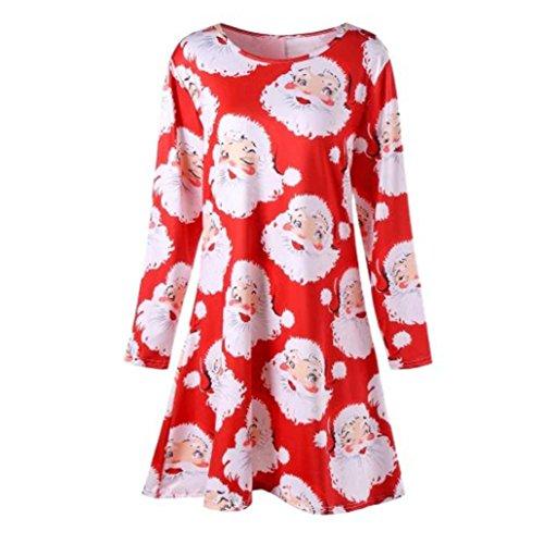 GJKK Damen Weihnachten Santa Gedruckt Kleid Langarm O-Ausschnitt Minikleid Print Swing Kleid Partykleider Santa Geschenke (Rot, L) (Mädchen Sleeve T-shirt Lila Cap)
