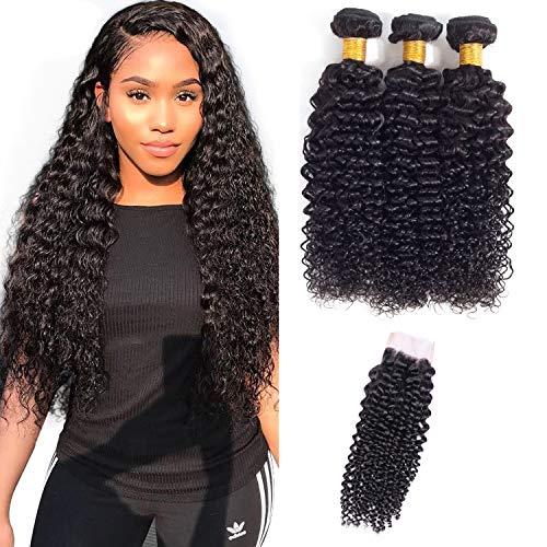 Bcapelli umani ricci brasiliani 100% capelli umani con chiusure brazilian human hair 3 bundles with closure (14 16 18+14 pollici)