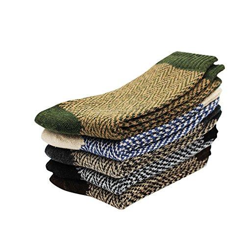 POIUDE Ausverkauf Wollesocken, Frauen Socken 5 Paar Atmungsaktiv Warm Weich Klimaregulierende Baumwollsocken Winter Socken Herren 37-44(A, EIN)
