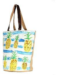 Large Multicolor Canvas Tote Shoulder Bag Stylish Shopping Casual Bag Foldaway Travel Bag