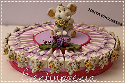 Torta bomboniera da 23 scatoline bomboniere con elefantini + 1 salvadanaio - torte bomboniere battesimo comunione