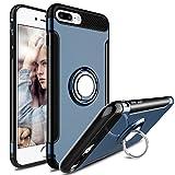 Coque iPhone 8 Plus, Coque iPhone 7 Plus, WATACHE 360 ° Socle à Grip Réglable Hybride 2 en 1 Compatible avec Support Voiture Magnétique Anti-Fingerprint Slim Cover pour Apple iPhone 8/7 Plus (Bleu)