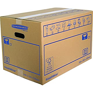 Bankers Box 35 x 35 x 55 cm, SmoothMove Cardboard Moving Boxes, Pack of 10
