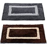 "Story@Home Handicraft Style Eco Series 2 Piece Cotton Blend Door Mat - 16""x24"", Grey and Brown"