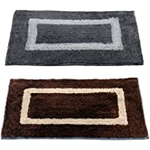 """Story@Home Handicraft Style Eco Series 2 Piece Cotton Blend Door Mat - 16""""x24"""", Grey and Brown"""