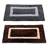 "Story@Home Handicraft Style Eco Series 2 Piece Cotton Blend Door Mat Set - 16""x24"", Blue and Red"