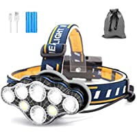 SYOSIN Lampe Frontale, 8 LED 18000 Lumen Torche Frontale LED Rechargeable USB, Torches Frontales Étanche Puissante pour Camping, Vélo, Escalade, Chasse, Pêche, Course