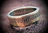 Coinring, Münzring, Ring aus Münze (1 Florin, Australien 1954 ), 500er Silber - Double Sided coin ring - Größe 67 (21.3), handgeschmiedetes Unikat