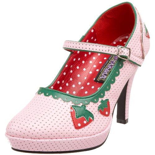 CONTESSA-58, Mary Janes baby pink Erdbeeren, Größe 41, B. Pink Pu, 41 (Kostüme Erwachsene Erdbeere)