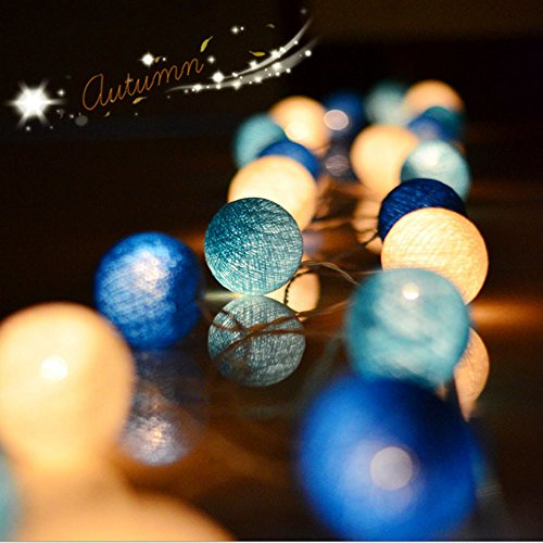 Lichterkette Außen, HUIHUI 20 LEDs Ball Lichterkette batteriebetrieben für Party, Garten, Weihnachten, Halloween, Hochzeit, Indoor & Outdoor Decor (Blau, One size)