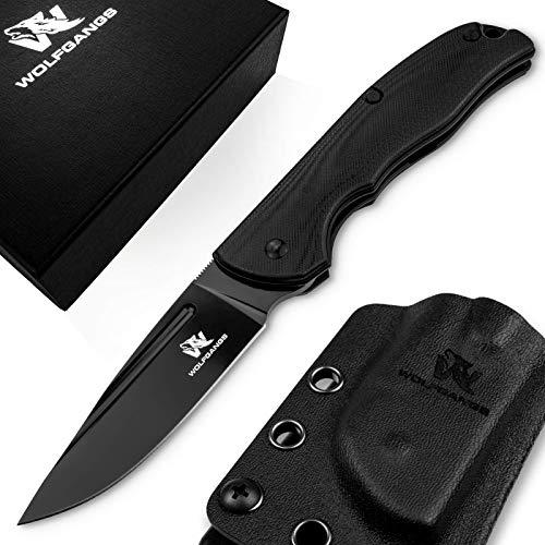 Wolfgangs RAVUS Zweihand Klappmesser aus D2 Stahl - Taschenmesser inkl. Kydex (komplett schwarz)