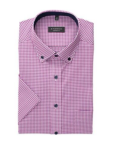 eterna Kurzarm Hemd Comfort Fit Popeline Kariert(W40, Pink/Grau) (Rosa Karierte Hemd Herren)