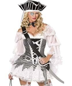 Smiffy's - Sexy Piratinnenkostüm Kostüm Piratin 4teilig Gr. 36/38 (S), 40/42 (M),