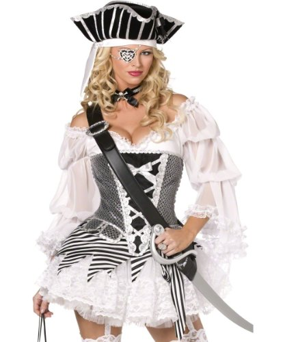 Smiffy's - Sexy Piratinnenkostüm Kostüm Piratin 4teilig Gr. 36/38 (S), 40/42 (M), (Shipmate Piraten Kostüm)