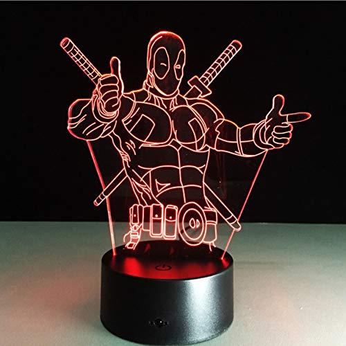 Die Avengers Deadpool 3D Led Tischleuchte New Super Hero 7 Farben Visuelle Illusion Led Leuchtet Freunde Party Geschenk