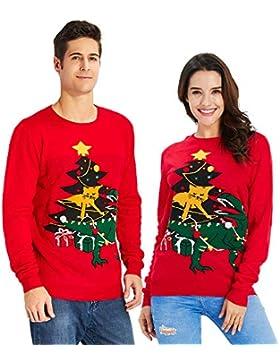 Goodstoworld Jersey Navidad Adulto Hombre y Mujer Novedad Elfo Motivos Suéter Tejido Ugly Christmas Sweater Unisex...