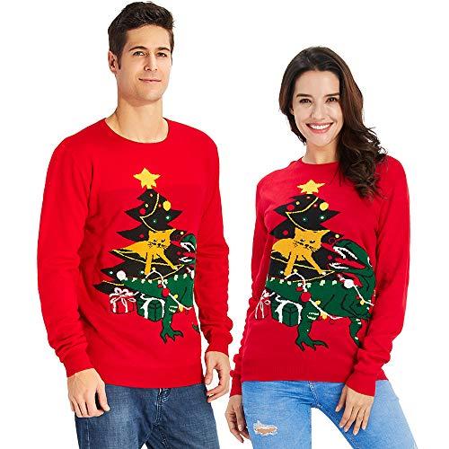 Goodstoworld Weihnachtspulli Damen Herren Dinosaurier Weihnachtsbaum Ugly Christmas Sweater Weihnachtspullover rot Xmas Jumper Pulli