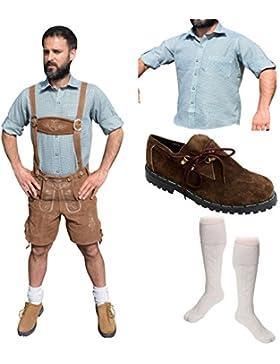 Herren Trachten Set E 5-teilig Trachten Lederhose * kurz * HELLBRAUN 46-60 Trachtenhemd Schuhe Socken Oktoberfest