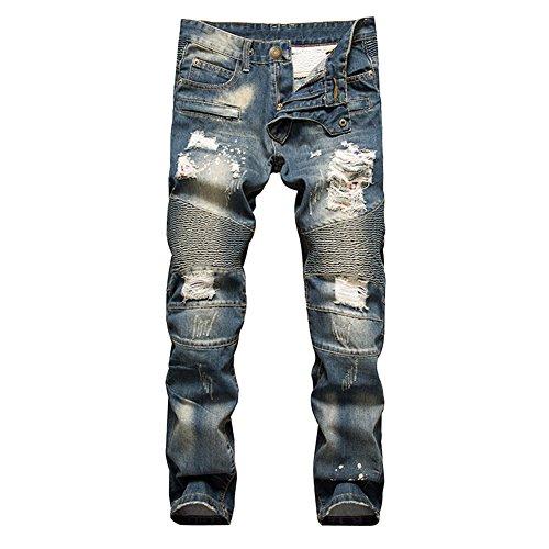 Uomo jeans casuale moto strappati distrutto taglio straight pantaloni skinny 32
