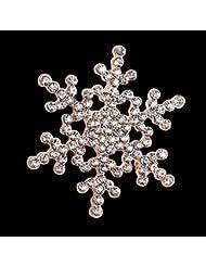 KUNQ Regalo Pareja/Regalo Navidad/Broche De Diamantes De Moda Lindo Bufanda Hebilla Broche De Cristal como Copo De Nieve Broche C