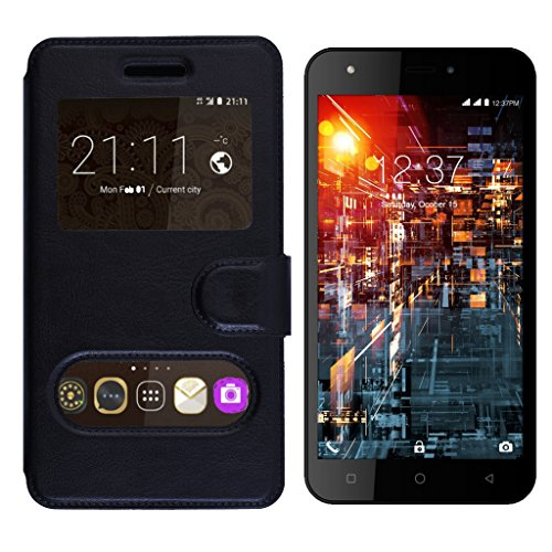 Shopme Premium PU Leather Flip cover for Micromax Bolt A71 (Caller ID Window, 360 degrees Viewing, Full Protection for camera Mobile, Slider for Taking Snaps)(Black Color)  available at amazon for Rs.239