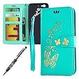 Kompatibel mit Huawei G8 Mini/Enjoy 5S/GR3 Hülle Hülle Luxus Gold Schmetterling Muster Lanyard/Strap Pu Leder Hülle Handytasche Brieftasche Etui Schutzhülle Flip Wallet Case Cover Grün