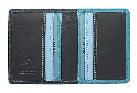 Visconti Collection Rainbow cuir CANCUN Carte de crédit Porte-RB44NI Bleu multi