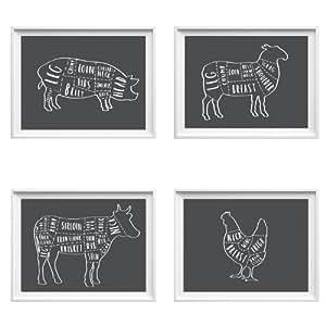 Set of Butcher prints - kitchen wall decor - butcher kitchen art - butcher meat cuts diagram ...